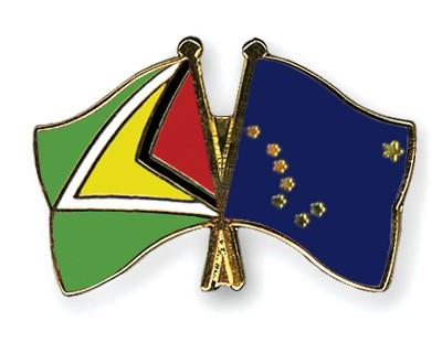 Crossed Flag Pins Guyana-Alaska