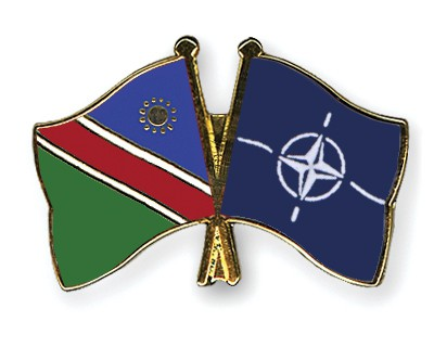 Crossed Flag Pins Namibia-NATO