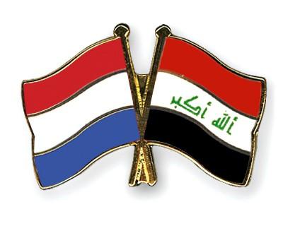 Crossed Flag Pins Netherlands-Iraq