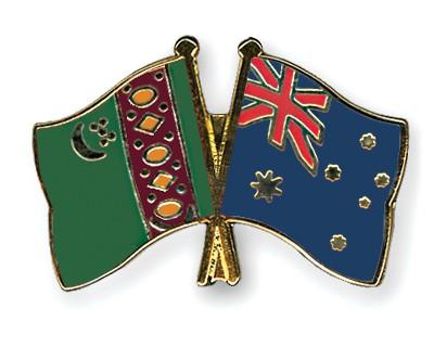Crossed Flag Pins Turkmenistan-Australia