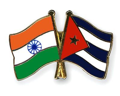 Crossed Flag Pins India-Cuba