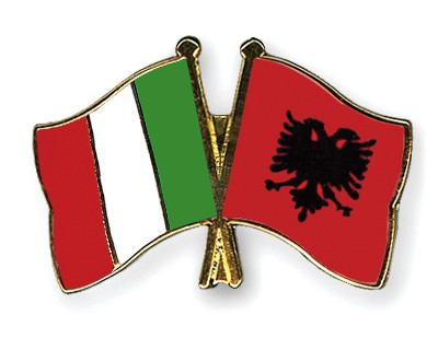 Special Offer Crossed Flag Pins Italy-Albania