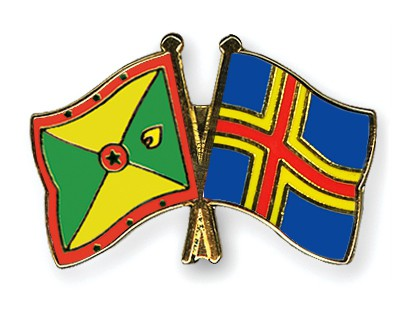 Crossed Flag Pins Grenada-Aland