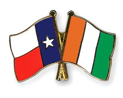 Crossed Flag Pins Texas-Cote-d-Ivoire