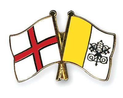 Crossed Flag Pins England-Vatican-City