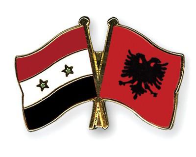 Crossed Flag Pins Syria-Albania