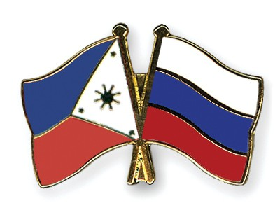 Crossed Flag Pins Philippines-Russia