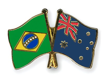 Special Offer Crossed Flag Pins Brazil-Australia