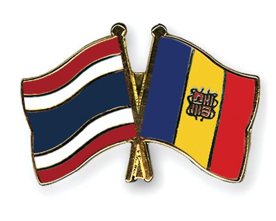 Crossed Flag Pins Thailand-Andorra