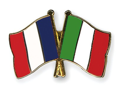 Crossed Flag Pins France-Italy