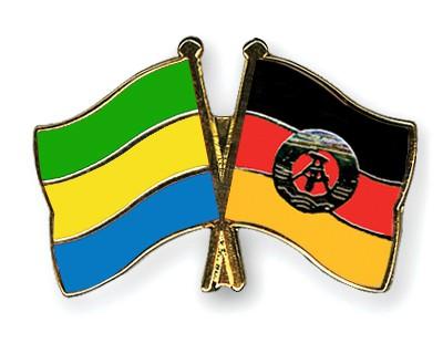Crossed Flag Pins Gabon-GDR