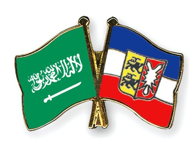 Crossed Flag Pins Saudi-Arabia-Schleswig-Holstein