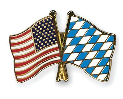 Crossed Flag Pins USA-Bavaria