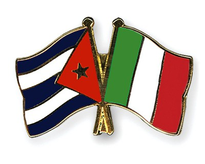Crossed Flag Pins Cuba-Italy