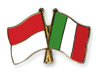 Crossed Flag Pins Indonesia-Italy
