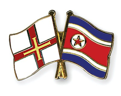Crossed Flag Pins Guernsey-North-Korea