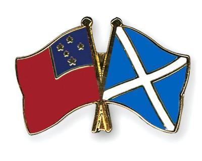 Crossed Flag Pins Samoa-Scotland