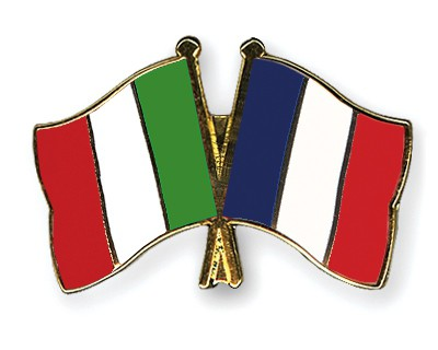 Crossed Flag Pins Italy-France
