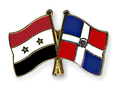 Crossed Flag Pins Syria-Dominican-Republic