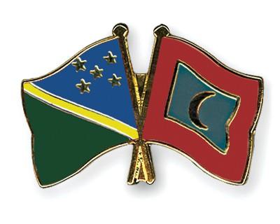 Crossed Flag Pins Solomon-Islands-Maldives