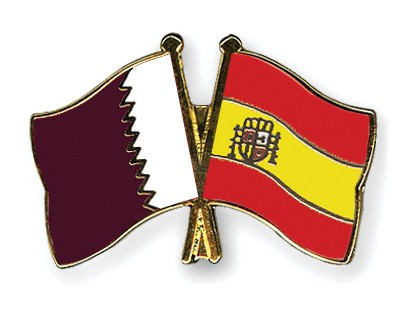 Special Offer Crossed Flag Pins Qatar-Spain