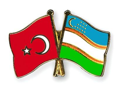 Crossed Flag Pins Turkey-Uzbekistan