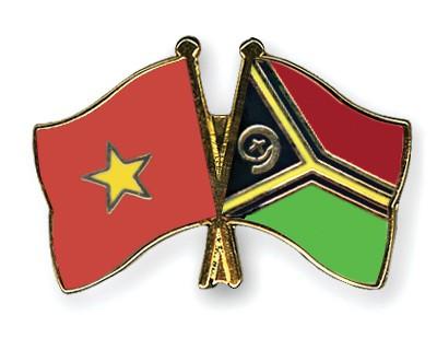 Crossed Flag Pins Vietnam-Vanuatu
