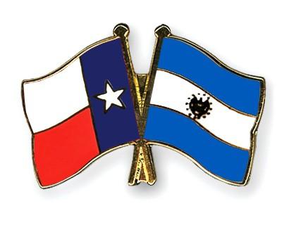 Crossed Flag Pins Texas-El-Salvador