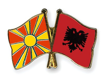 Crossed Flag Pins Macedonia-Albania