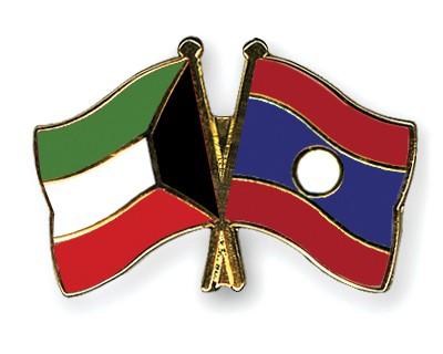 Crossed Flag Pins Kuwait-Laos