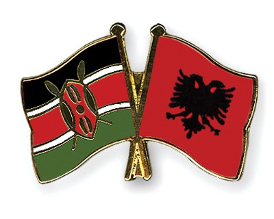 Crossed Flag Pins Kenya-Albania