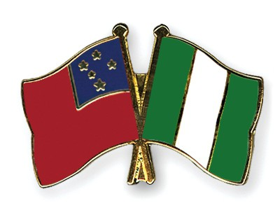 Crossed Flag Pins Samoa-Nigeria