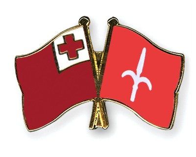 Crossed Flag Pins Tonga-Trieste