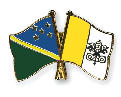 Crossed Flag Pins Solomon-Islands-Vatican-City