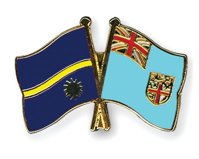 Crossed Flag Pins Nauru-Fiji