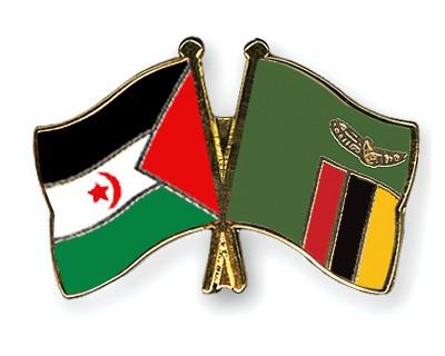 Crossed Flag Pins Western-Sahara-Zambia