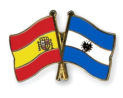 Crossed Flag Pins Spain-El-Salvador