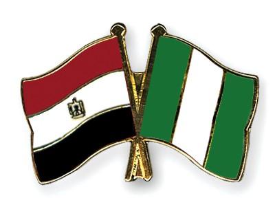 Crossed Flag Pins Egypt-Nigeria