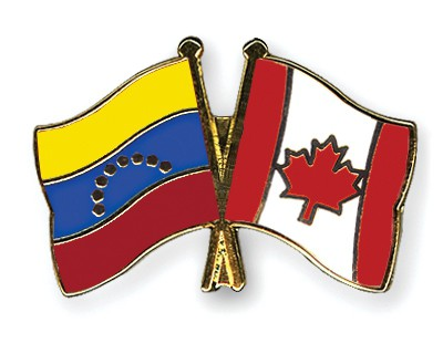 Crossed Flag Pins Venezuela-Canada