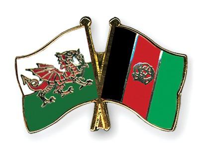Crossed Flag Pins Wales-Afghanistan