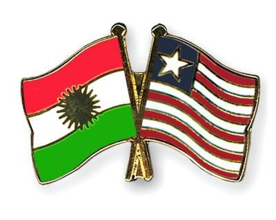 Crossed Flag Pins Kurdistan-Liberia