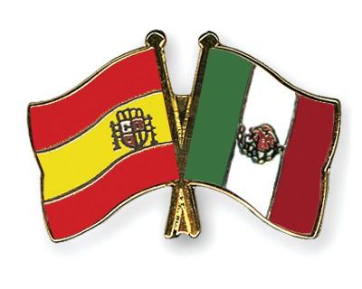 Crossed Flag Pins Spain-Mexico