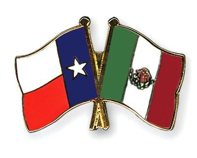 Crossed Flag Pins Texas-Mexico