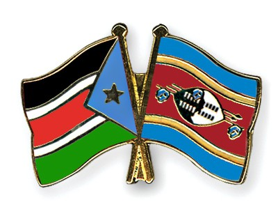 Crossed Flag Pins South-Sudan-Swaziland