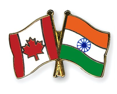 Special Offer Crossed Flag Pins Canada-India