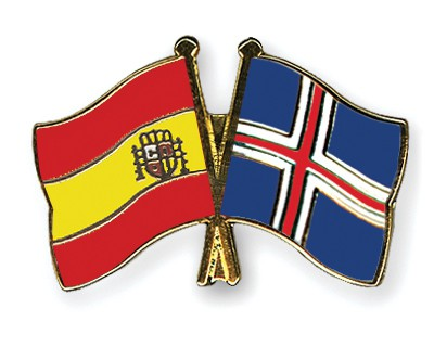 Crossed Flag Pins Spain-Iceland