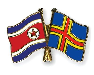 Crossed Flag Pins North-Korea-Aland