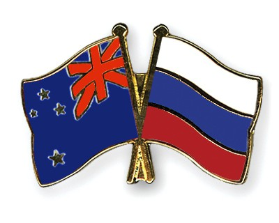 Crossed Flag Pins New-Zealand-Russia