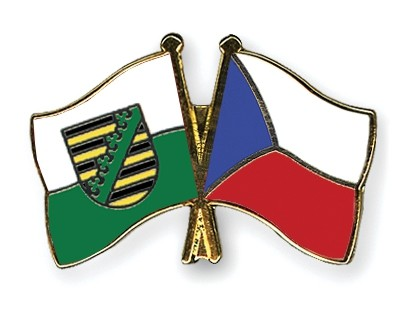 Special Offer Crossed Flag Pins Saxony-Czech-Republic