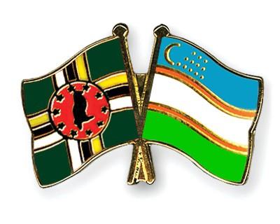 Crossed Flag Pins Dominica-Uzbekistan